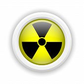 picture of radium  - Round plastic icon with black design on yellow background - JPG
