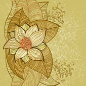 stock photo of magnolia  - Vintage grunge hand drawn greeting card with magnolia flower - JPG