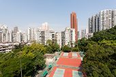 View of the residential neighborhoods Macau. Downstairs tennis courts. China.
