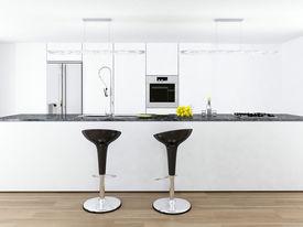 stock photo of stool  - Modern white kitchen interior with two bar stools - JPG