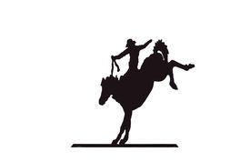 picture of bucking bronco  - Buckaroos - cowboy on bucking bronco wild horse  Western art iron work Wyoming Rocky Mountain west - JPG