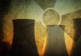 image of polution  - Silhouette of Nuclear Power Plant - JPG