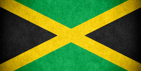 stock photo of jamaican flag  - flag of Jamaica or Jamaican banner on paper rough pattern texture - JPG