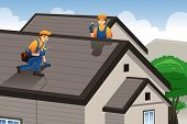 image of roofs  - A vector illustration of roofer working on the roof of a house - JPG