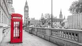 stock photo of big-ben  - London red phone box and Big Ben on black and white landscape