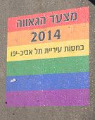 picture of parade  - A printed sign on the street floor  - JPG
