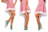 pic of short legs  - woman legs in summer high heel shoes and short red dress - JPG