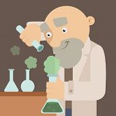 stock photo of physicist  - Vector image of an scientist in the lab - JPG