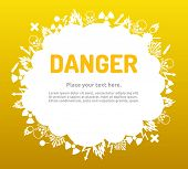 picture of biological hazard  - Danger sign set in cloud banner for your text - JPG