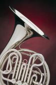 French Horn Silver Isolated On Red
