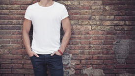 pic of apparel  - Young man wearing white blank t - JPG