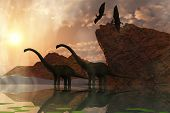stock photo of pterodactyl  - Two diplodocus dinosaurs and two flying pterodactyl birds greet the early morning mist - JPG