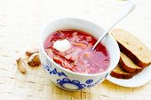 picture of pampushka  - ukrainian and russian beet soup  - JPG