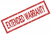 picture of extend  - extended warranty red square stamp isolated on white background - JPG