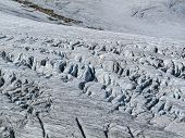 pic of crevasse  - Deep lateral Crevasses in a alpine glacier in the French alps - JPG