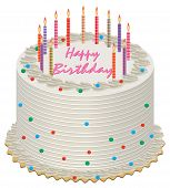 stock photo of birthday-cake  - vector illustration of birthday cake with burning candles - JPG