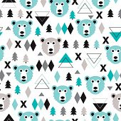 stock photo of grizzly bear  - Seamless geometric pastel holidays theme grizzly bear forest and triangle christmas tree background pattern in vector - JPG
