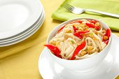 spaghetti bowl with garlic and pepper poster