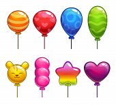 foto of cute tiger  - Set of cute cartoon balloons - JPG