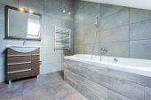 stock photo of bathroom sink  - Bathroom interior with bath and wooden shelf - JPG