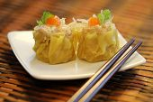 foto of chinese menu  - The famous adapted appetizer in asia which is Chinese Steamed Pork and Glass noodles Dumplings - JPG