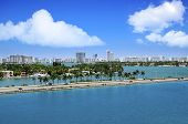 stock photo of leaving  - View of downtown Miami from a cruise ship leaving the harbor - JPG