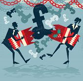 image of png  - Great illustration of Retro styled Businessman and Woman pulling a huge christmas cracker at their Christmas party and finding a surprise UK Pound financial bonus - JPG