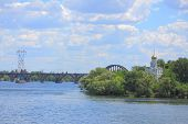 stock photo of dnepropetrovsk  - Island with cloister on the river Dniepr in Dnepropetrovsk - JPG