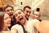 picture of selfie  - Group of friends taking a selfie  - JPG