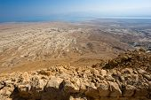 image of masada  - View from Masada in Israel to the dead sea - JPG