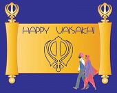 stock photo of salwar  - an illustration of a sikh greeting card with purple and saffron parchment and the words happy vaisakhi and a sikh couple on a purple background - JPG