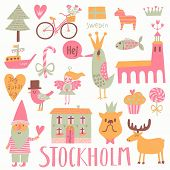 image of scandinavian  - Stockholm Sweden set in vector - JPG