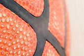 foto of basketball  - texture of the leather basketball Spalding designed for basketball - JPG