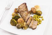 picture of loin cloth  - Cut in slices roast beef with grilled mushrooms broccoli and brussels sprouts - JPG