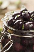 image of kalamata olives  - jar with pickled kalamata olives - JPG