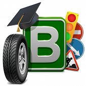 foto of sign board  - Driving school concept with wheel - JPG