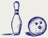 stock photo of bowling ball  - Equipment for bowling - JPG