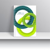 stock photo of booklet design  - Magazine Cover with paper circles and texture  - JPG
