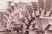 picture of water-mill  - Vintage effect two water wheels of mill - JPG