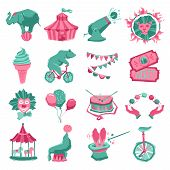 pic of rabbit hole  - Circus decorative icon set with carnival tent animals clown and juggler isolated vector illustration - JPG