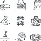 picture of nautical equipment  - Set of black contour vector icons for diving equipment and objects on white background - JPG