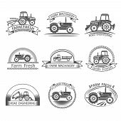 pic of truck farm  - Tractor driver farm and construction machinery label set isolated vector illustration - JPG