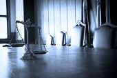 picture of justice law  - Symbol of law and justice in the empty courtroom law and justice concept BLUE TONE - JPG