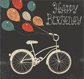 picture of balloon  - vector retro hand drawn blackboard birthday card with bicycle and balloons - JPG