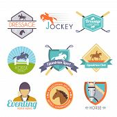 foto of horse-riders  - Jockey label set with dressage sport horse club emblems isolated vector illustration - JPG