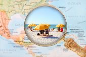 foto of sunny beach  - Looking in on a Beach in Florida USA under sunny skies - JPG