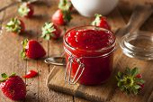 picture of jar jelly  - Homemade Organic Strawberry Jelly in a Jar - JPG