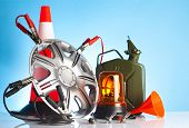 pic of rectifier  - car accessories and road emergency items on blue background - JPG