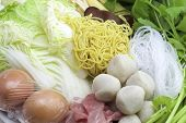stock photo of shabu  - Sukiyaki mixed vegetables meat combinations are set on a plate - JPG