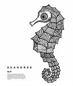 picture of seahorse  - Grapchic Vector Tribal Seahorse illustration - JPG